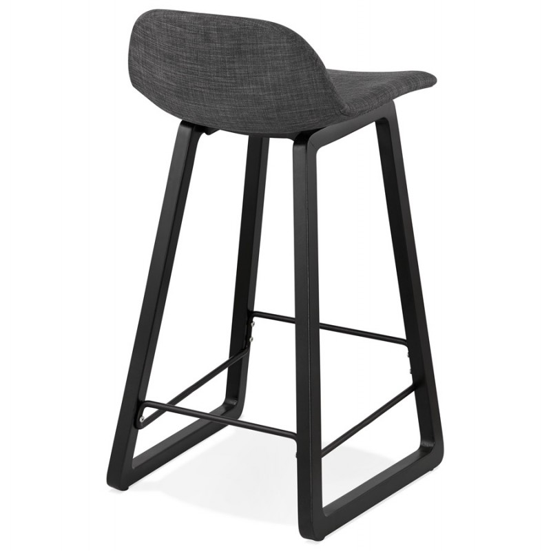 Tabouret de bar mi-hauteur industriel en tissu pieds bois noir MELODY MINI (gris anthracite) - image 46890