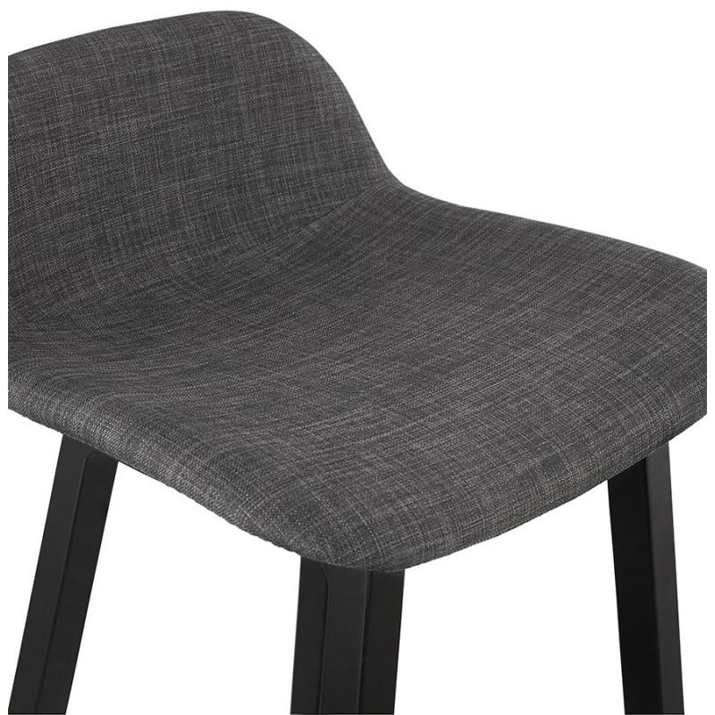 Tabouret de bar mi-hauteur industriel en tissu pieds bois noir MELODY MINI (gris anthracite) - image 46892