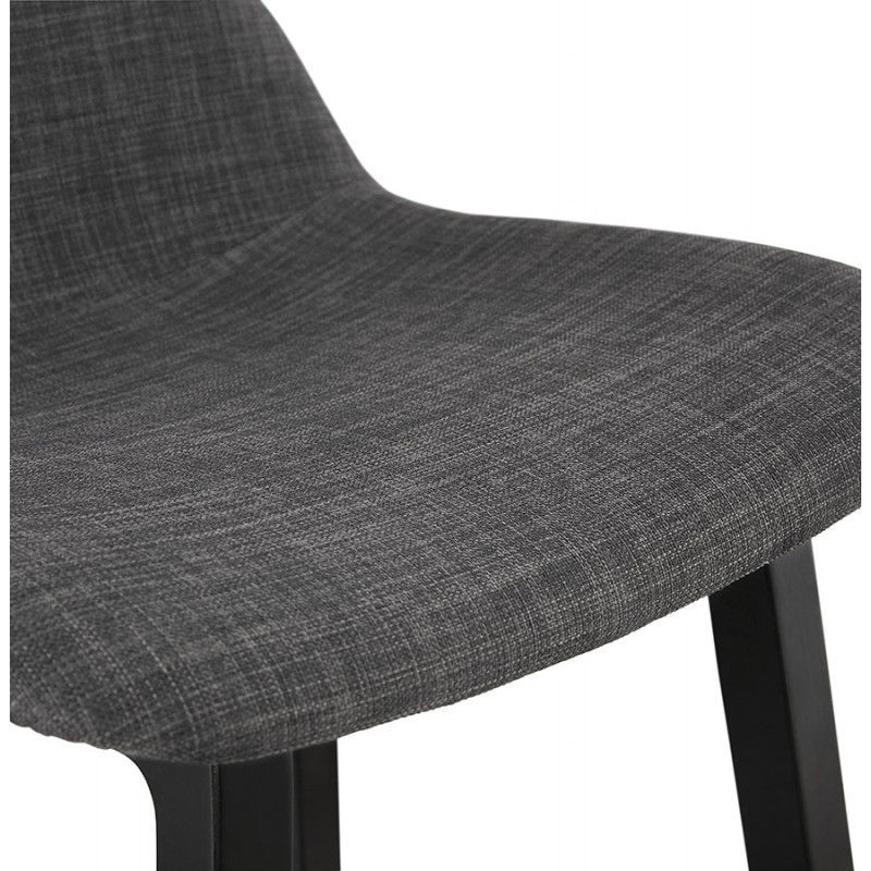 Tabouret de bar mi-hauteur industriel en tissu pieds bois noir MELODY MINI (gris anthracite) - image 46893
