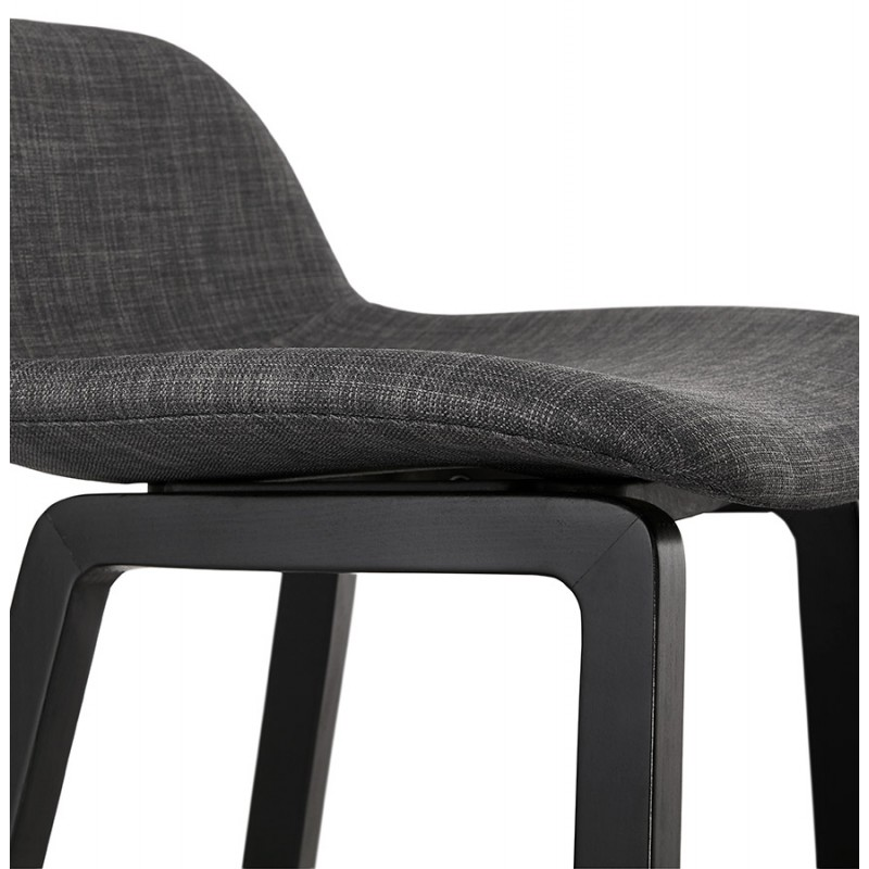 Tabouret de bar mi-hauteur industriel en tissu pieds bois noir MELODY MINI (gris anthracite) - image 46895