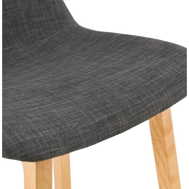 Tabouret de bar mi-hauteur scandinave en tissu pieds couleur naturelle MELODY MINI (gris anthracite) - image 46905