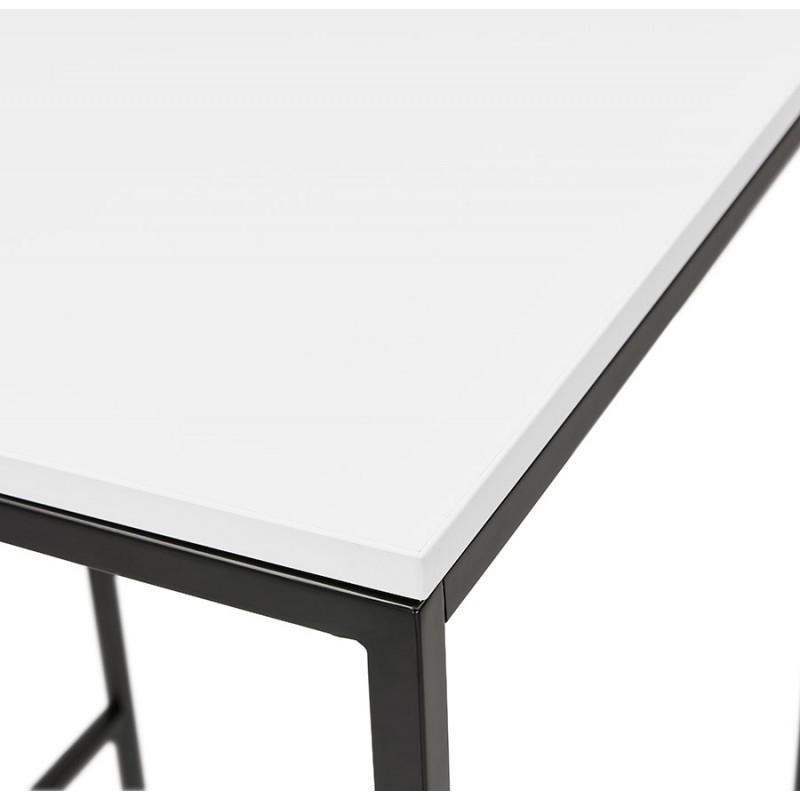 Hoher Tisch aufgesiebt Holzdesign schwarz Metallfüße HUGO (weiß) - image 47000