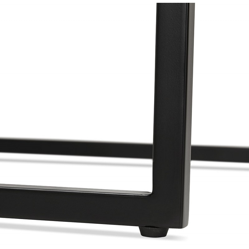 Table haute mange-debout design en bois pieds métal noir HUGO (blanc) - image 47004