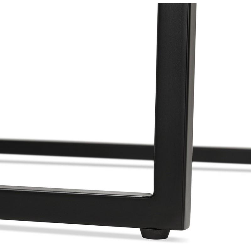 Hoher Tisch aufgesiebt Holzdesign schwarz Metallfüße HUGO (weiß) - image 47004