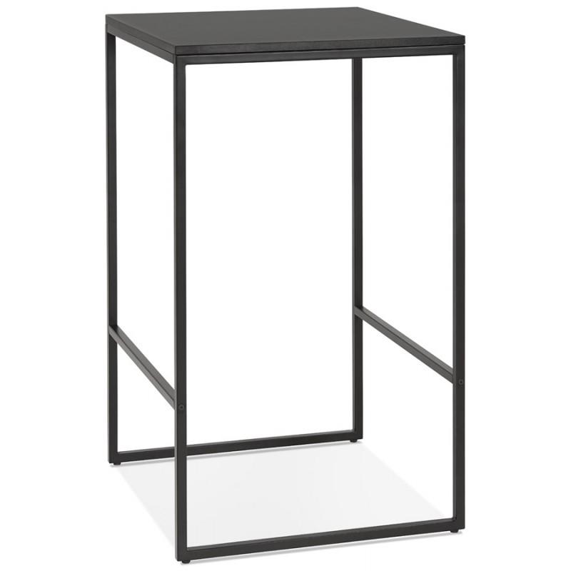 Table haute mange-debout design en bois pieds métal noir HUGO