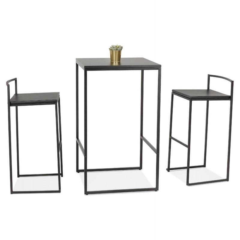 Table haute mange-debout design en bois pieds métal noir HUGO - image 47014