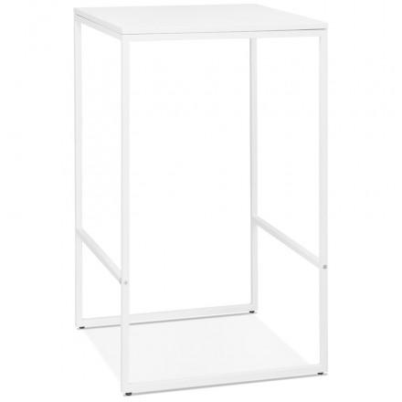 Table haute mange-debout design en bois pieds métal blanc HUGO