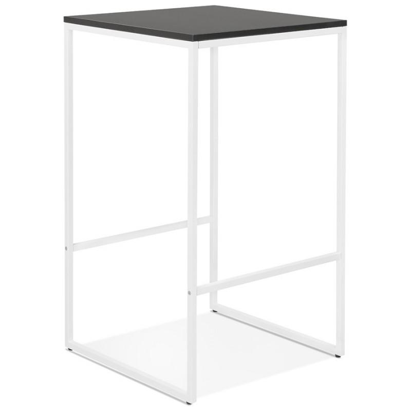 Table haute mange-debout design en bois pieds métal blanc HUGO (noir) - image 47047