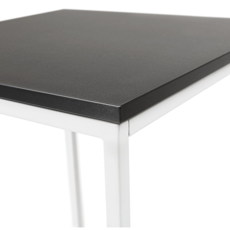 Table haute mange-debout design en bois pieds métal blanc HUGO (noir) - image 47048