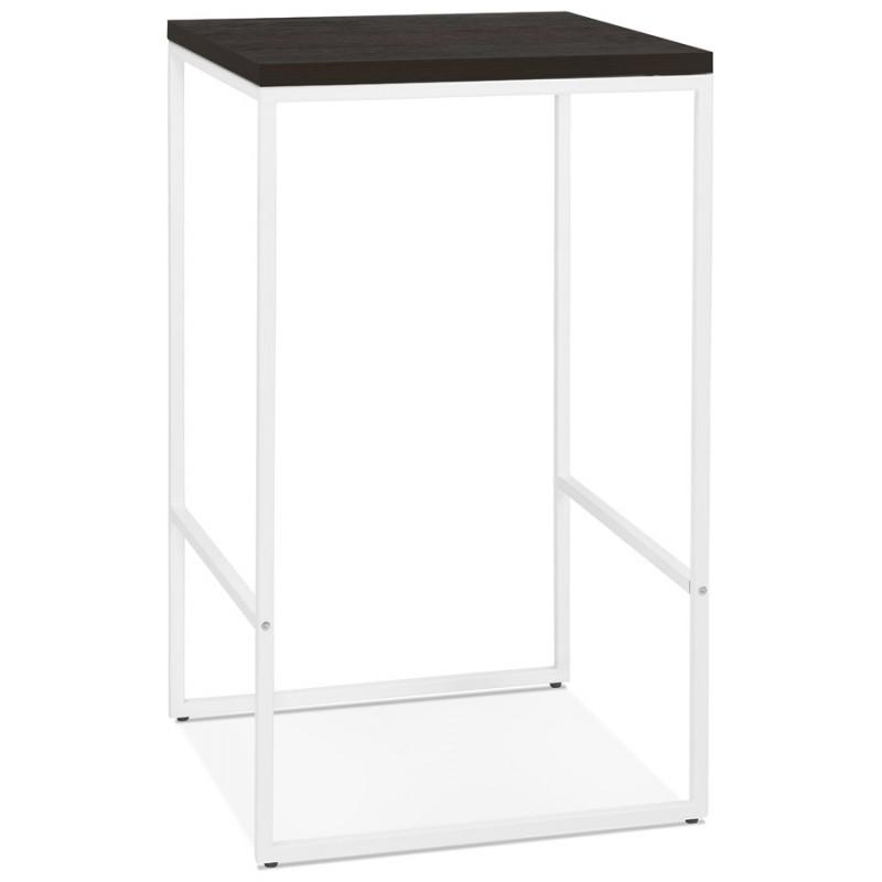 Hoher Tisch aufgesättes Holzdesign weiß Metallfuß LUCAS (wengé)