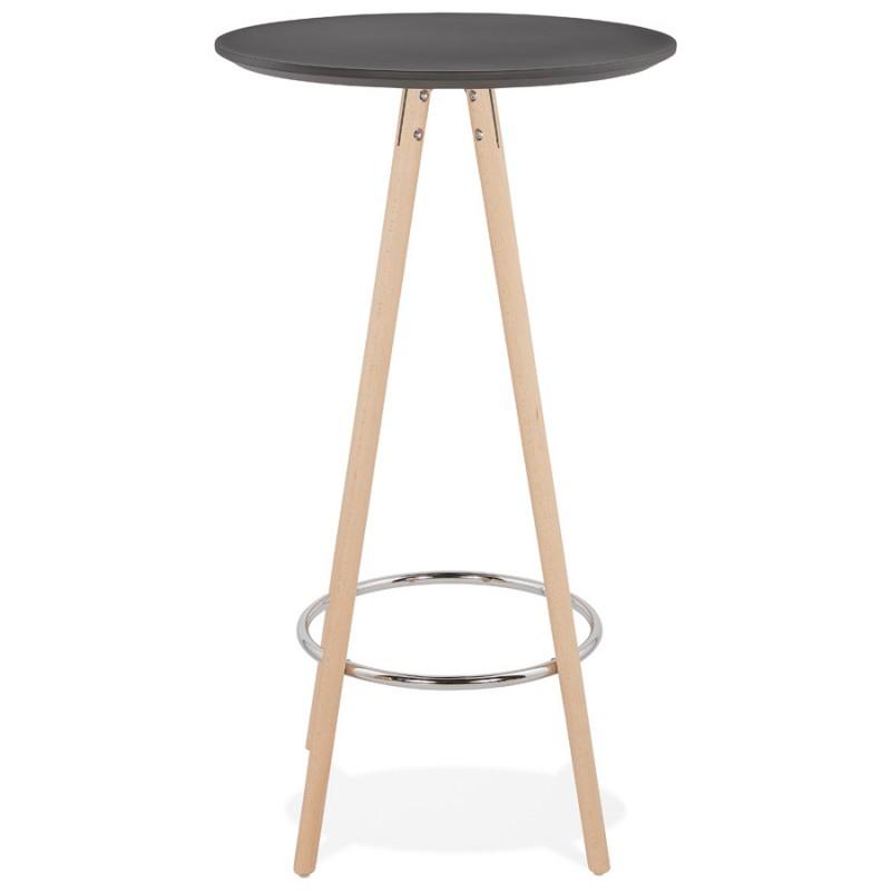 Table haute mange-debout design en bois pieds bois couleur naturelle CHLOE (noir) - image 47075