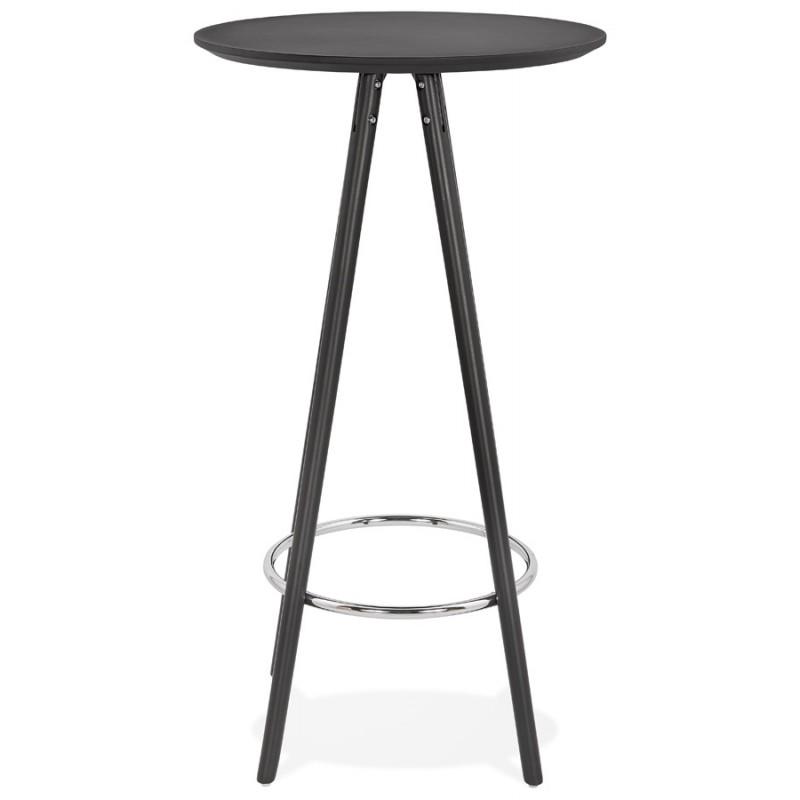 Table haute mange-debout design en bois pieds bois CHLOE (noir) - image 47084