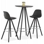Table haute mange-debout design en bois pieds bois CHLOE (noir)