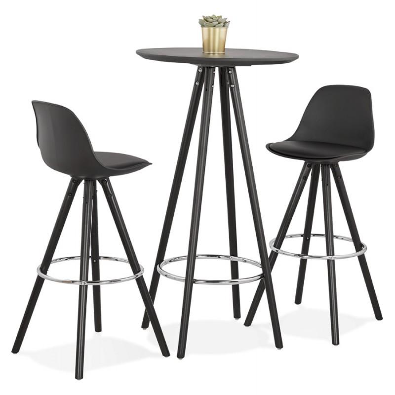 Table haute mange-debout design en bois pieds bois CHLOE (noir) - image 47091