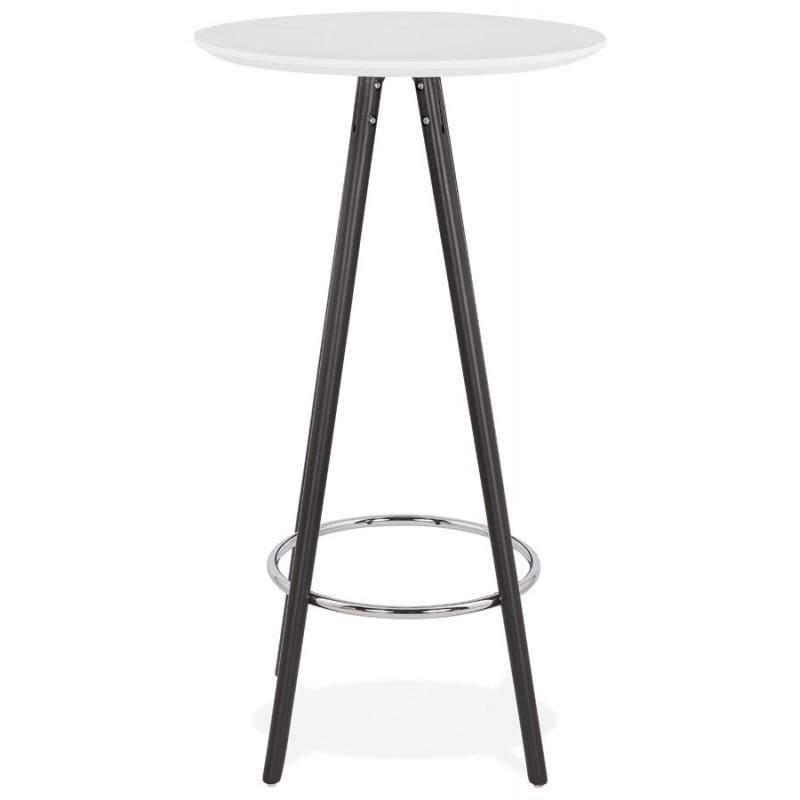Table haute mange-debout design en bois pieds bois noir CHLOE (blanc) - image 47093