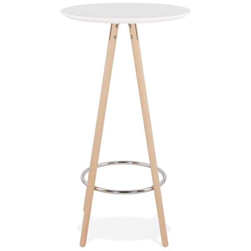 Table haute mange-debout design en bois pieds bois couleur naturelle CHLOE (blanc) - image 47102