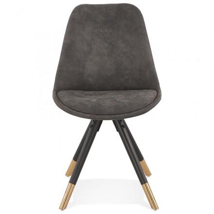 Chaise vintage et rétro en microfibre pieds noirs et dorés SERAPHIN (gris foncé)