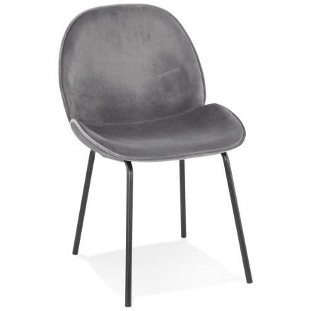 Vintage and retro chair in tYANA black foot velvet (dark grey)
