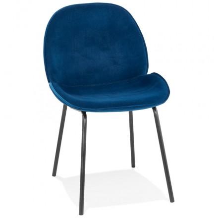 Chaise vintage et rétro en velours pieds noirs TYANA (bleu)