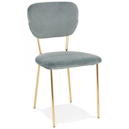 Chaise vintage et rétro en velours pieds dorés NOALIA (gris clair)