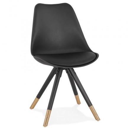 Chaise vintage et rétro pieds noirs et dorés LUNA (noir)