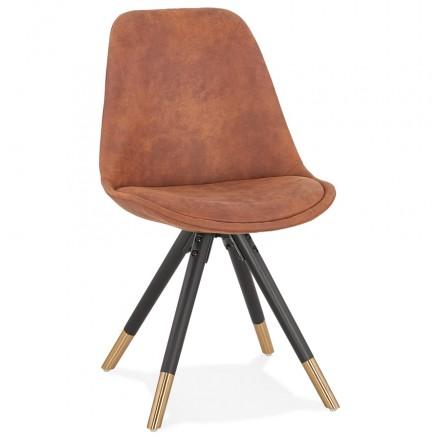 Chaise vintage et rétro en microfibre pieds noirs et dorés SERAPHIN (marron)