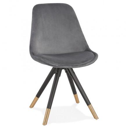 Chaise vintage et rétro pieds noirs et dorés SUZON (gris)