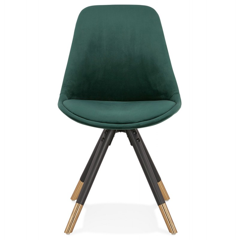 SUZON vintage and retro black and gold foot chair (green) - image 47458