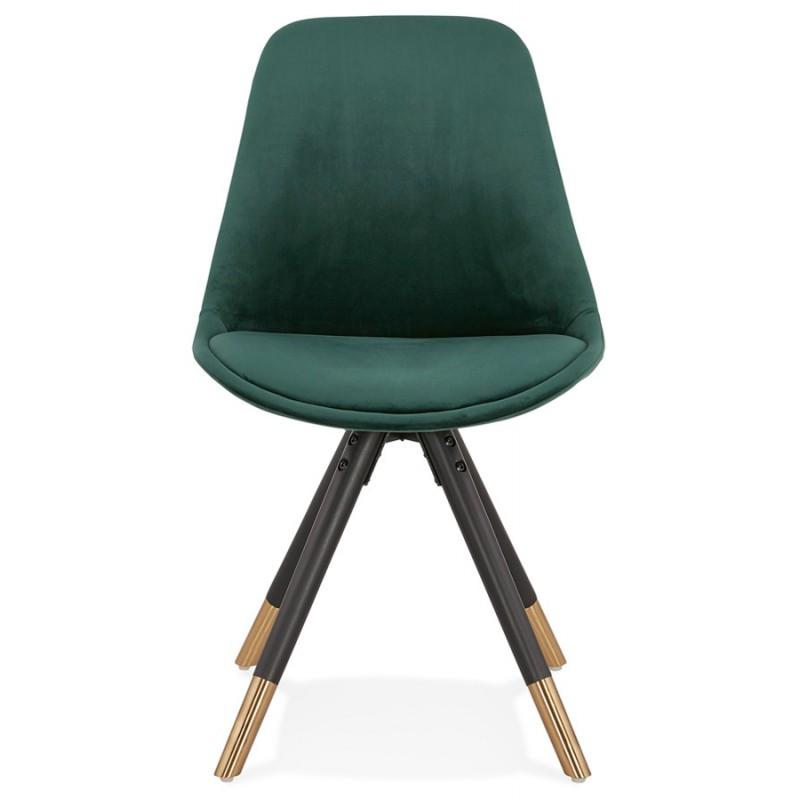 Chaise vintage et rétro pieds noirs et dorés SUZON (vert) - image 47458