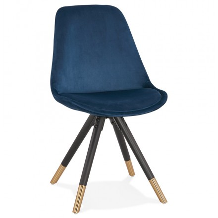 SUZON sormand and retro velvet chair in black and gold feet (blue)