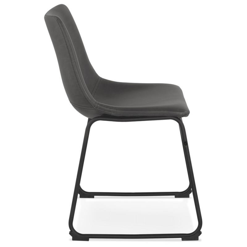 Chaise vintage et industrielle pieds métal noir JOE (gris foncé) - image 47470
