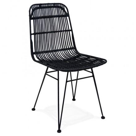 Sedia di design e vintage rattan piedi nero metallo BERENICE (nero)