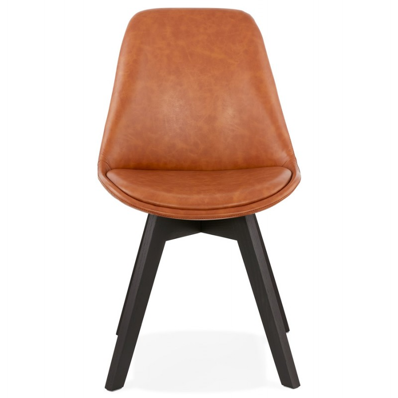 Chaise vintage et industrielle pieds bois noir MANUELA (marron) - image 47485