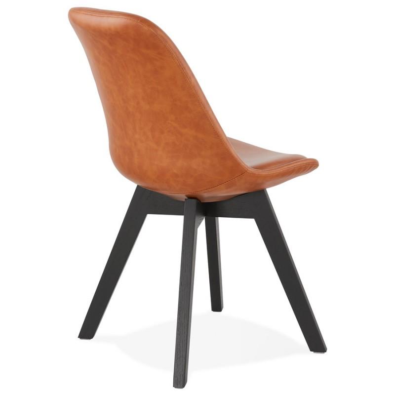 Chaise vintage et industrielle pieds bois noir MANUELA (marron) - image 47487
