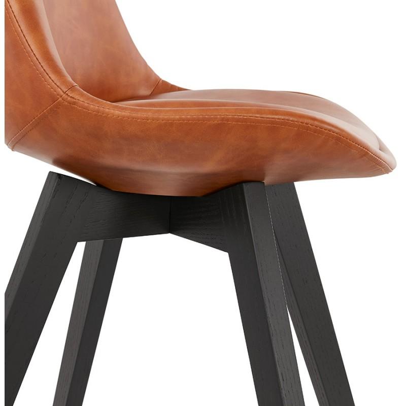 Chaise vintage et industrielle pieds bois noir MANUELA (marron) - image 47491