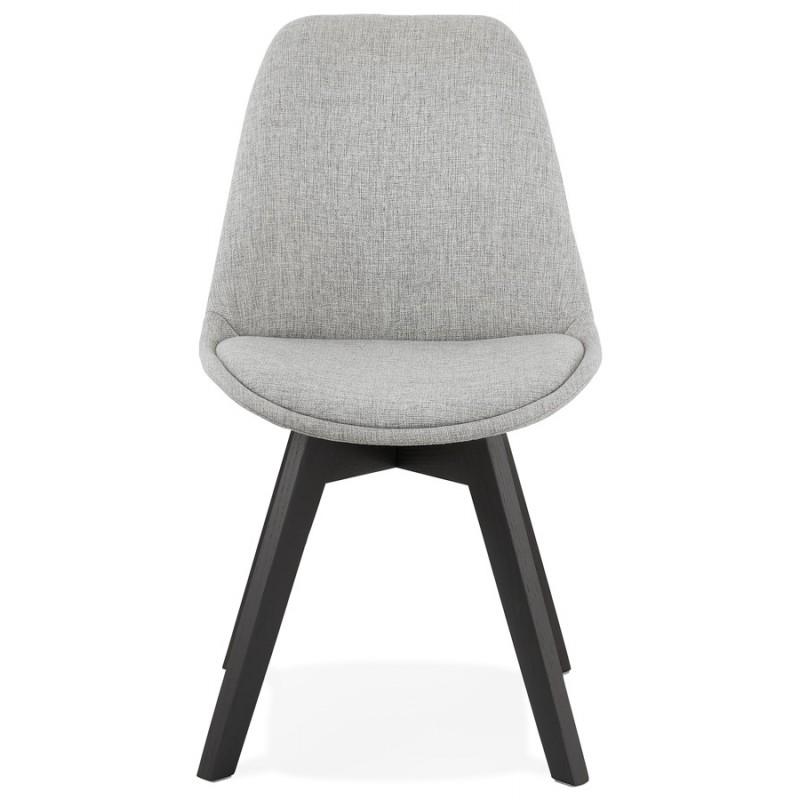 Chaise design en tissu pieds bois noir NAYA (gris) - image 47496