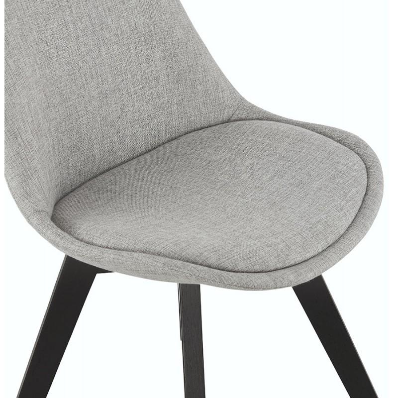 Chaise design en tissu pieds bois noir NAYA (gris) - image 47500