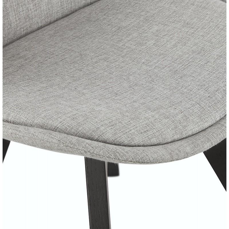 Chaise design en tissu pieds bois noir NAYA (gris) - image 47501