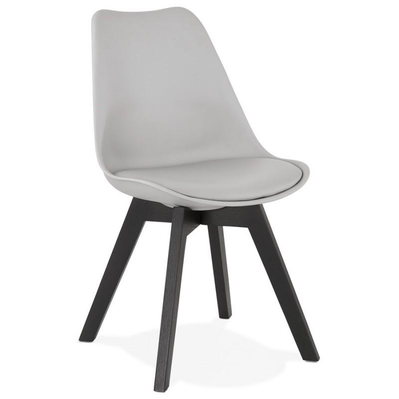 Chaise design pieds bois noir MAILLY (gris)