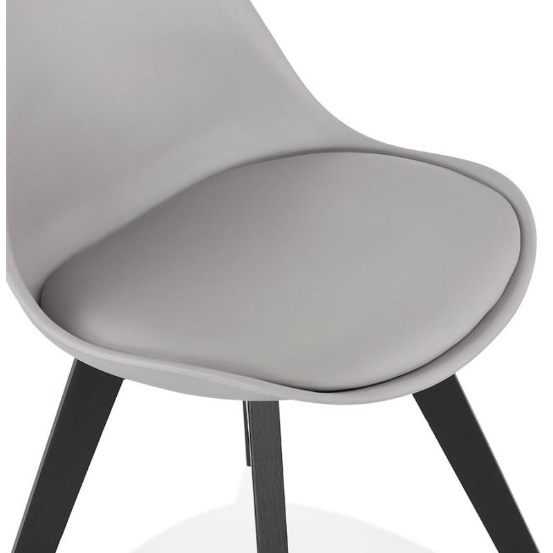 Chaise design pieds bois noir MAILLY (gris) - image 47507