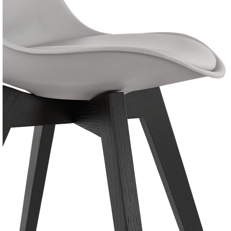 Chaise design pieds bois noir MAILLY (gris) - image 47509