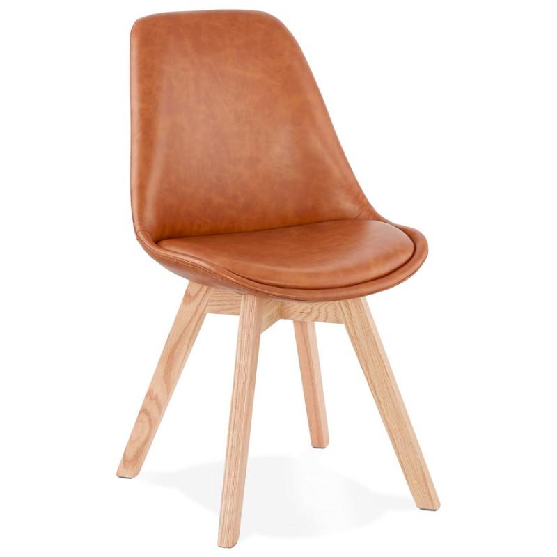 Chaise vintage et industrielle pieds bois finition naturelle MANUELA (marron)