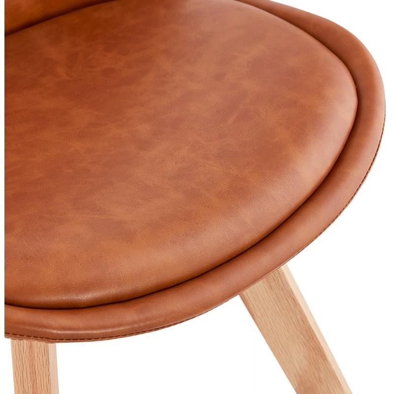 Chaise vintage et industrielle pieds bois finition naturelle MANUELA (marron) - image 47541