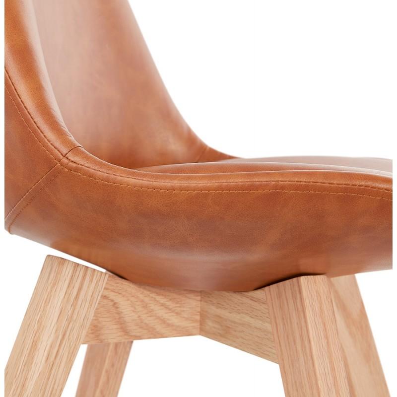 Chaise vintage et industrielle pieds bois finition naturelle MANUELA (marron) - image 47542