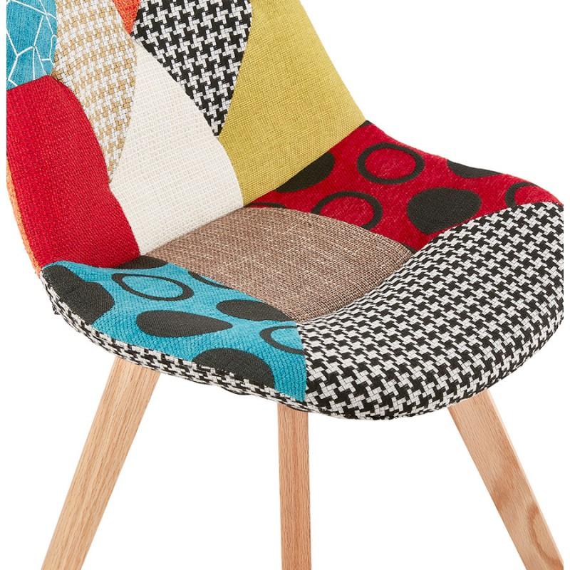 Chaise bohème patchwork en tissu pieds bois finition naturelle MARIKA (multicolore) - image 47555
