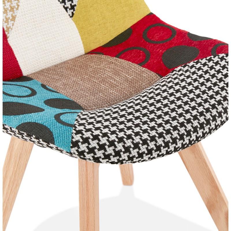 Chaise bohème patchwork en tissu pieds bois finition naturelle MARIKA (multicolore) - image 47556
