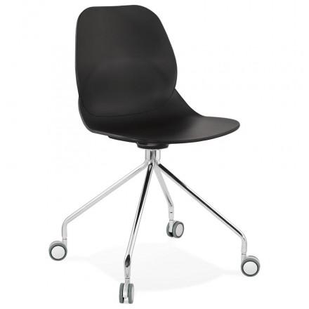 MarianA chrome metal foot desk chair (black)