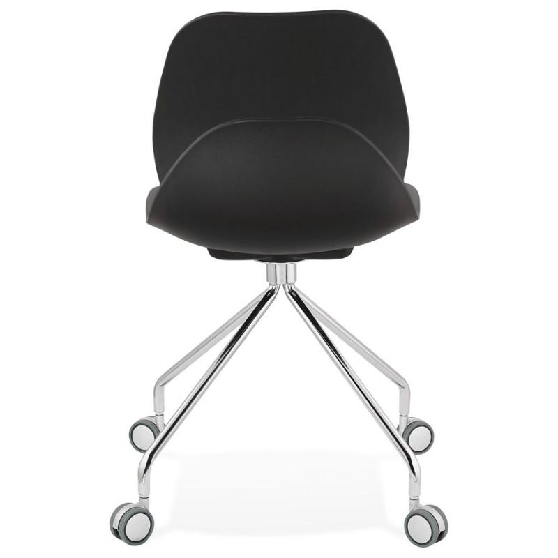 Chaise de bureau sur roulettes pied métal chromé MARIANA (noir) - image 47571