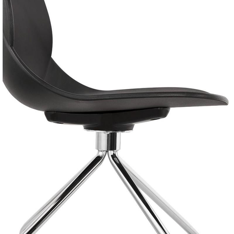 Chaise de bureau sur roulettes pied métal chromé MARIANA (noir) - image 47574