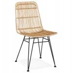 Chaise design et vintage en rotin pieds métal noir BERENICE (naturel)